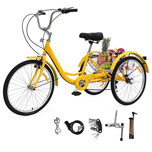 EOSAGA Adult Tricycles 7 Speed, Adult Trikes 24 inch 3 Wheel Bikes, Three-Wheeled Bicycles Cruise Trike for Recreation, Shopping with Basket