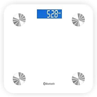 LK-HOME Peso Digital, Báscula De Baño De Peso Digital Y Báscula Inteligente, Medición De Alta Precisión De IMC, Grasa Visceral, Músculo, Etc, Aplicación Inteligente para Fitness,Blanco