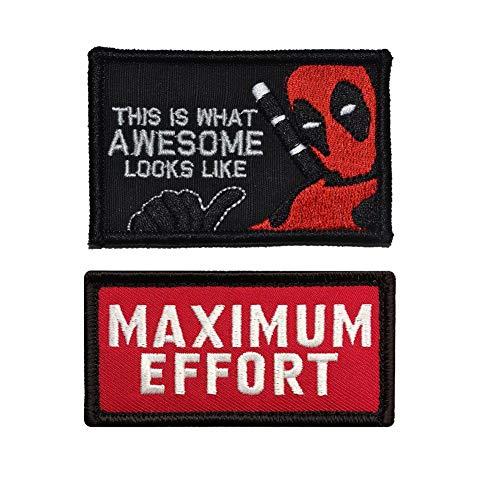 SOUTHYU 2 Stück Deadpool Taktisches Militär Moral Patch Stickerei Klett-Patch Aufnäher Abzeichen dekorative Applikationen Aufkleber für Jacken Baseball Kappe Rucksäcke Uniform (#2)