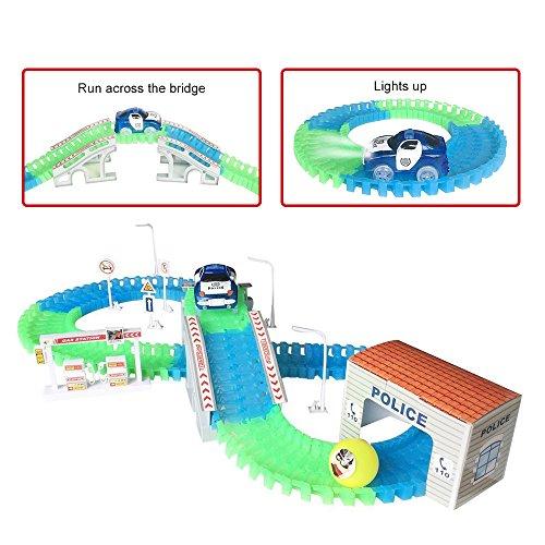 Chemin de Fer Circuit de Course Véhicule Miniature Electronique avec Rail Ferroviaire Construction Cadeaux pour Enfants
