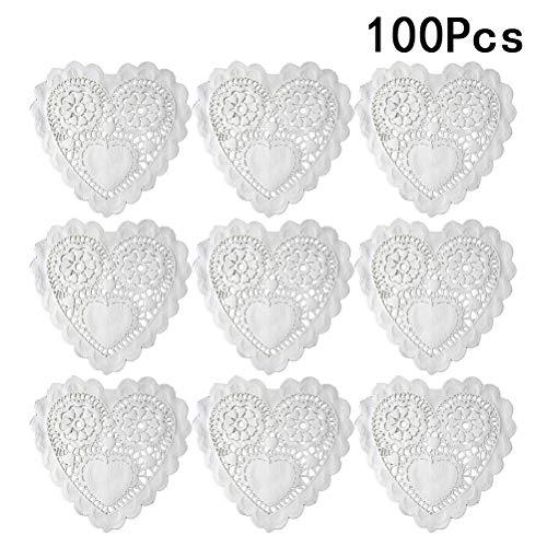 BESTONZON 100 PCS 5,5 pollici Hollow amore cuore tovagliette olio prova floreale carta centrini torta di carta da forno stuoie matrimonio stoviglie decorazione