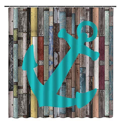 Duschvorhang mit nautischem Anker, 168 x 182,9 cm, rustikal, blau-grau, Holzdielen, wasserdichter Stoff, Badezimmervorhang, Stoff-Dekoration