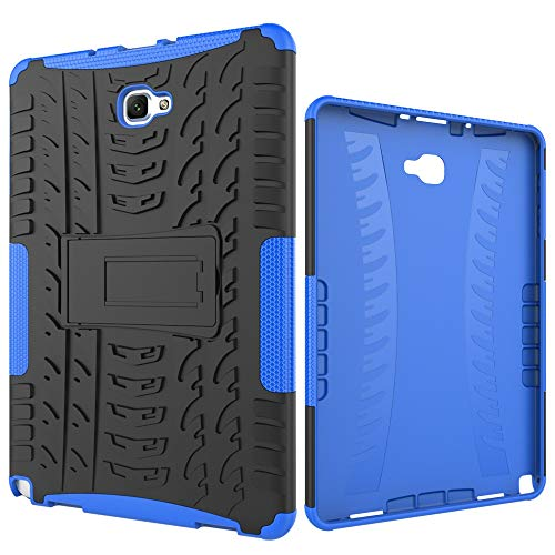 Tablet Protective Case Tablet Cover for Samsung Galaxy Tab A 2016 10.1/P585/P580 Tire Texture Shockproof TPU+PC Protective Case with Folding Handle Stand (Color : Dark blue)