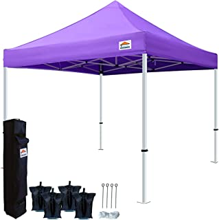 TISTENT 10'x10' Ez Pop Up Canopy Tent Commercial Instant Shelter with Heavy Duty Carrying Bag, 4 Canopy Sand Bags Purple