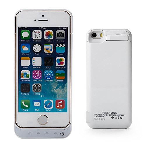 Invero - Carcasa para Apple iPhone SE, 5S y 5, 2200 mAh, Recargable, con...