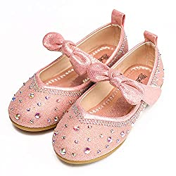 Pink Flower Girls's Tied Bow Ankle Strap Shoe