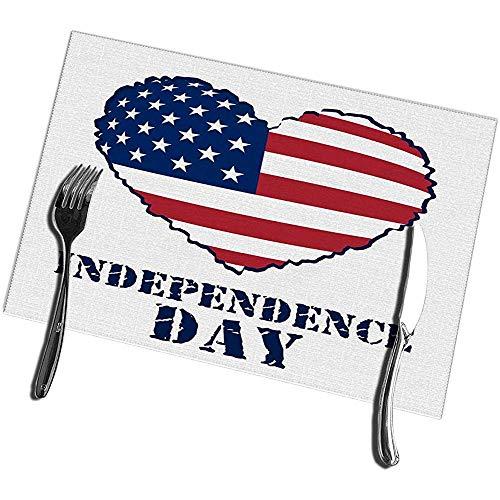 sunnee-shop placemats voor eettafel, set van 4, Amerikaanse vlag, hartvormige patriotische onafhankelijkheidsdagliefde