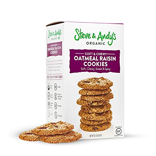 Steve and Andy's - Soft and Chewy All-Natural Oatmeal Raisin Cookies, Gluten Free Cookies for Dessert, No Corn Syrup, No Tree Nuts, Kosher, and Non Gmo (1Pack)
