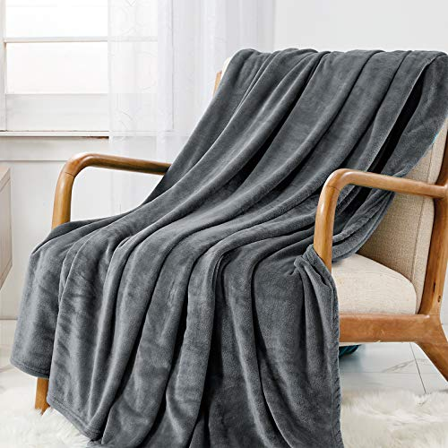 WAVVE Manta Franela Reversible 150x200 cm para Cama 90, Manta de Sofá 100% Microfibra, Suave, Caliente, Transpirable para Hogar, Oficina, Viaje (Gris)