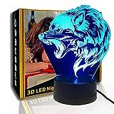 KangYD Luz de noche 3D de Fierce Wolfs Head, lámpara de ilusión LED, regalo para niños, E - Base para despertador (7 colores), Lámpara de dormitorio, Lámpara de ilusión, Decoración moderna