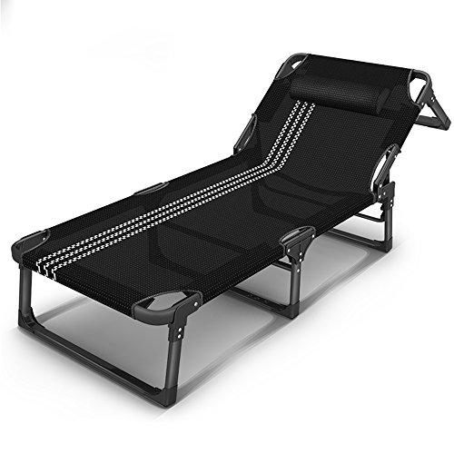 BJL transat pliant Camp Sun Lounger Sun Lounger Pliable Chaise inclinable avec Oreiller Jardin Plage inclinable en Plein air réglable (Noir) (Couleur : A)