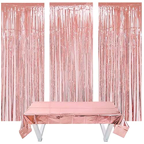 Nigaga Rose Gold Foil Fringe Tinsel Curtain 3 Pieces and Rose Gold Foil Tablecloth 1.4m*2.7m,Shimmer Curtain for Birthday Wedding Party, Halloween Christmas,Graduation,Baby Shower Decorations