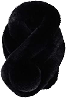 Tsmile Women Winter Warm Scarf 2019 Thicken Fluffy Fox Fur Pashmina Wrap Infinity Circle Loop Evening