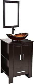 24 Inch Bathroom Vanity Set with Sink -MDF Cabinet Vanity Combo with Counter Top Glass Vessel Sink Vanity Mirror and 1.5 GPM Faucet