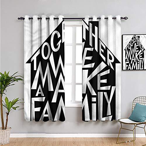 SONGDAYONE - Cortina de aislamiento térmico oscurecido, cortinas de 160 cm de largo, casa familiar, 2 paneles de 160 cm de ancho x 63 pulgadas de largo