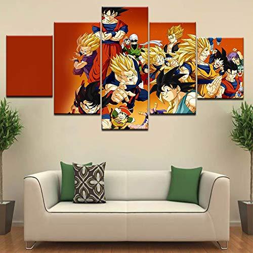 Vegeta Gohan Buu Son Goku Badehose Videl Dragon Ball Z Poster 5 Panel Hd Druck Leinwand Kunst Malerei Für Zuhause Wohnzimmer Dekor(Kein Rahmen)