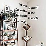 Hoagard Frase de metal para pared | Be Yourself – Be Real – Be Happy – Be Unique| Arte de pared 14 piezas | Decoración de metal para colgar en la pared para tu casa y oficina