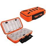 Goture Mini Fishing Lure Boxes Tackle Box Bait Plastic Small Storage Case Vest Accessories Large Containers (Medium/Orange)