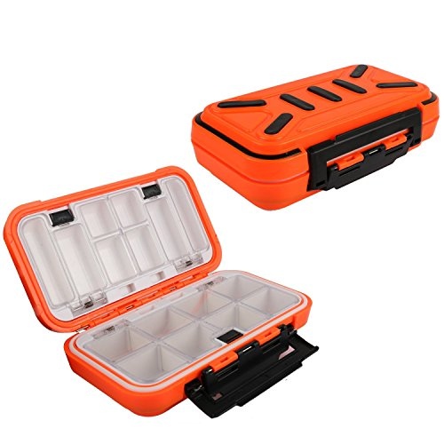 Goture Small Fishing Lure Boxes Tackle Box Bait Plastic Small Storage Case Accessories Large Containers (Medium Orange)
