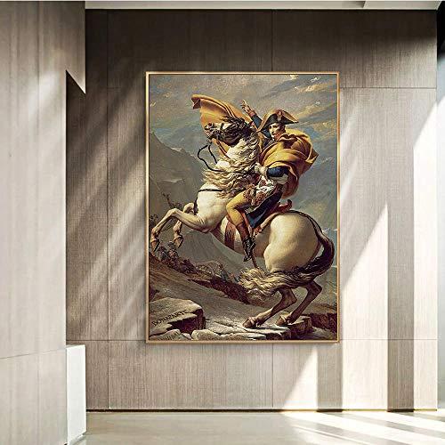 WKAQM Napoleón De la Lona Sala de Decoración Sin Marco Grandes Tamaño Pintura Nórdico Pared Arte Soldado Caballo Cartel Impresiones Francia Pared Pintura Oficina Vivir Cuadros Pared Arte Franc