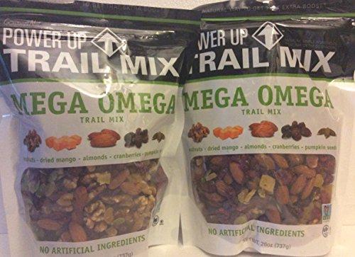 Gourmet Nut Power Up Trail Mix 26oz Each (2 PACK) Mega Omega Trail Mix 26 oz Each Bag
