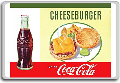 Eet Cheeseburger Drink Coca Cola Vintage Kunst/Advertenties koelkast magneet