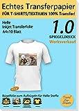 TransOurDream ECHTE Bügelfolie Transferfolie Transferpapier,DIN A4X10 Blatt,Inkjet bedruckbare Transferfolie für helle T-Shirts und Textilien,T-Shirt Folie zum Aufbügeln,gespiegelt drucken(1.0-10)