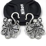 Davitu Antique Silver Brass Textured Octopus Ear Weights Hangers Gauges Spiral Ear Taper Stretcher Tunnel Plugs Expanders Earlet 2g/6mm