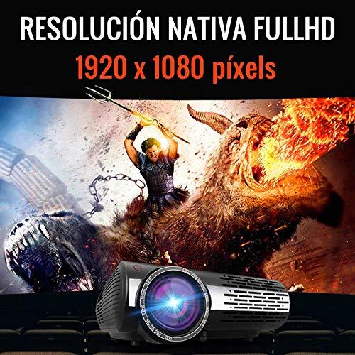 """Seelumen 6500 Lúmenes Proyector Full HD 1080P (1920 x 1080) Proyector Cine en Casa con Corrección Digital, Android 6.0, AC3, Compatible con Netflix, Kodi, Playstore, Bluetooth, WiFi 5G, 200"""" (Blanco) miniatura"""