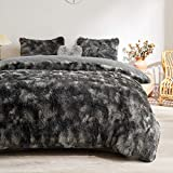 MEGO Fuzzy Faux Fur Duvet Cover Set - Shaggy Marble Print Duvet Cover -Ombre Luxury Ultra Soft Fluffy Comforter Cover Bed Sets (Queen, Dark Gray)