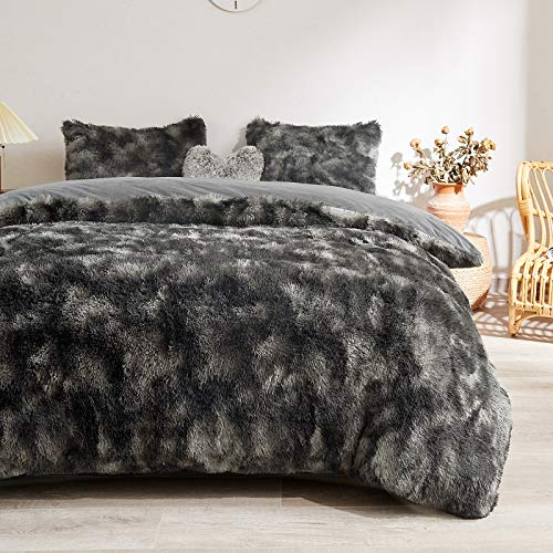 Fuzzy Faux Fur Duvet Cover Set - Shaggy Marble Print Duvet Cover -Ombre Luxury Ultra Soft Fluffy Comforter Cover Bed Sets (King, Black)