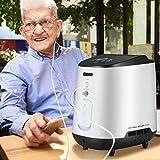 KKTECT Concentrador de oxígeno Máquina de oxígeno portátil ajustable con hermoso panel de color grande IMD Gran flujo de 1-7L / min 42db Silencioso para uso doméstico y de viaje(Entregado en 15 días)