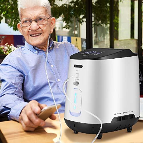 KKTECT Concentrador de oxígeno,Máquina de oxígeno portátil ajustable con hermoso panel de color grande IMD Gran flujo de 1-7L / min 42db Silencioso para uso doméstico y de viaje
