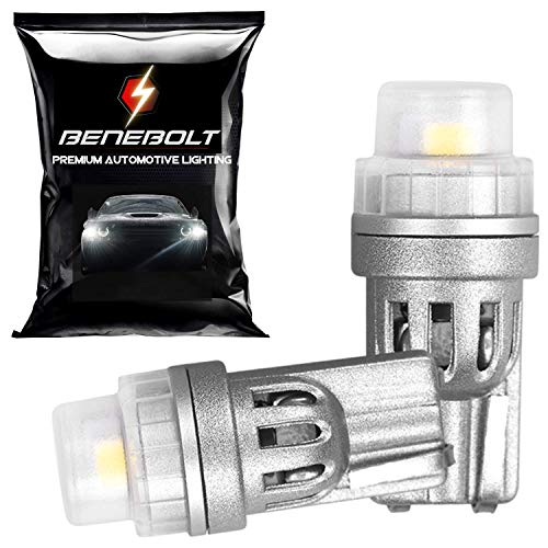 BENEBOLT 194 LED Bulbs - 400 Lumens 2825 W5W T10 LED Bulb and 168 LED Bulb - 6000K White LED Car Interior Lights with IC Current Driver - Also for License Plate Lights and Dome Trunk Light - 2 Pack