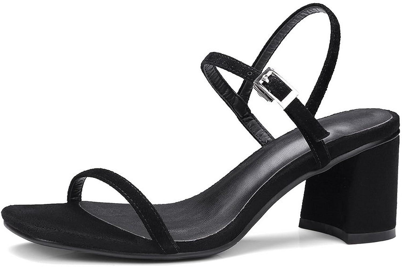 1TO9 Womens Chunky Heels Metal Buckles Solid Lambskin Heeled Sandals MJS02688