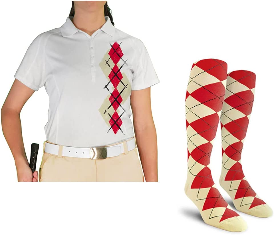 Ladies Argyle Paradise Golf Shirt Seattle Mall with - Max 44% OFF Red DDD: Socks Natural