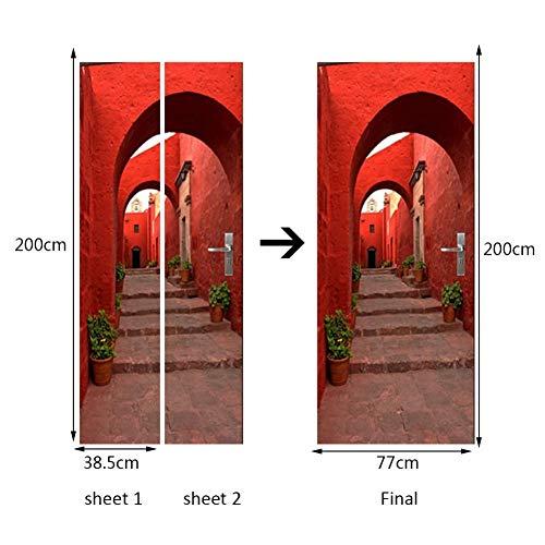 Preisvergleich Produktbild XCGZ Wandsticker Wasserdichte 3D Tür Aufkleber Selbstklebende Papier Dekoration Schlafzimmer Wohnzimmer Wandaufkleber Tür Aufkleber Rote Steinwand