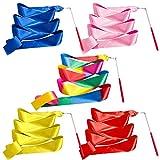 Paquete de 5 cintas de baile, serpentina artística, varitas unisex de gimnasia para niños, para gimnasio, entrenamiento, circo (arco iris, rojo, amarillo, azul, rosa).