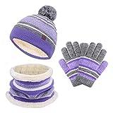 MORIASTER Lot de 3 accessoires tricotés pour enfant comprenant bonnet,...