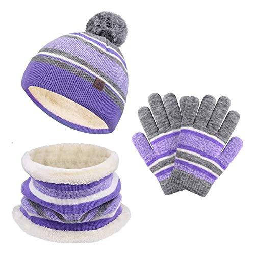 stroll the moon Kids Winter Hat Scarf Gloves Set, Baby Toddler Knit Beanie Neck Warmer Gaiter Gloves 3PC, Pom Stripe Caps for Boys Girls Children (purple & gray), Large