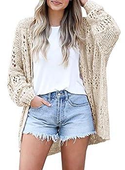 Ermonn Womens Crochet Cardigan Sweater Kimonos Boho Solid Color Oversized Summer Open Front Outwear Beige