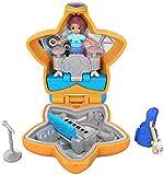 Polly Pocket Mini-Coffret orange Le Concert de Shani avec 1 mini-figurine et accessoires micro, guitare et son étui, jouet enfant, FRY32