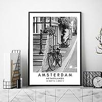 オランダ風景壁アートパネルアムステルダム黒白キャンバス絵画インテリア旅行ポスター都市座標写真北欧版画リビング ルーム部屋モダン装飾画