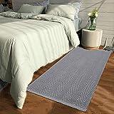 HEBE Extra langer Baumwoll-Teppich, 60 x 180 cm, wendbar, handgewebter Baumwoll-Überwurf, Teppichläufer für Küche, Schlafzimmer, Eingangsbereich, Waschküche 2'x4.2' Chevron Grey
