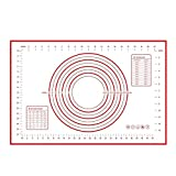 Mungowu Alfombrilla de Cocina de Silicona de 70X50 Cm. Almohadilla de Amasar para Hornear Almohadilla de Arcilla Pastelera Hoja de Herramientas-Blanco + Rojo