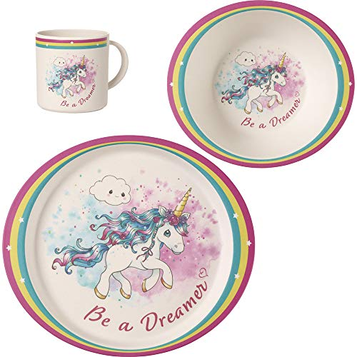 Precious Moments Unicorn Toddler Mealtime Feeding Set: Plate, Bowl, Cup, Multi