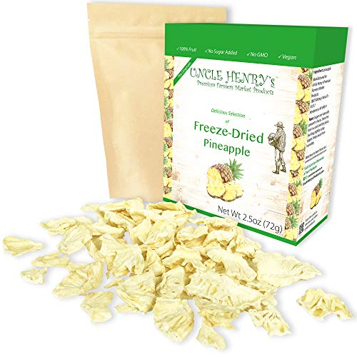 Freeze Dried Pineapple: Delicious Fruits 2.5oz (72g) Large Bulk Re-Sealable Bag in a Sturdy Protective Box: Taste Like Fresh Pineapples, the Ultimate Snack and Breakfast. Original Green Top Quality