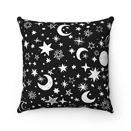 Promini Stars & Moons - Funda de cojín cuadrada decorativa de lona para sofá, dormitorio, oficina, coche, 60,9 x 60,9 cm