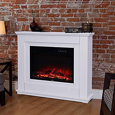 Fireplace Electric Fire Stove Glass Fronted Electric Fire Heater White MDF Fireplace Suite