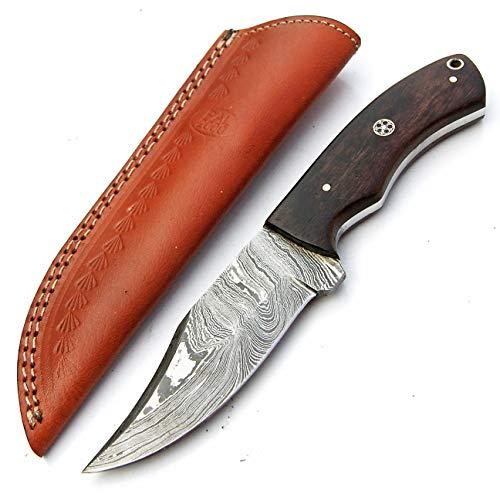PAL 2000 SGSG-9393 Couteau en Acier damassé Fait Main 22 cm avec Fourreau en Cuir – Cuisinier – Camping – Cuisine – lingots en Acier Damas – Barre en Acier Damasus – Couverts en Acier